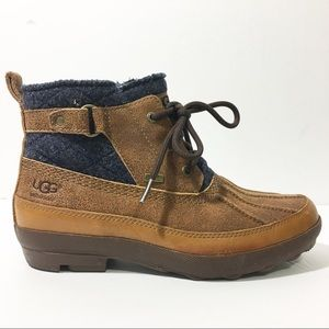 UGG Brown Lina Leather Wool Laceup Duck Boots